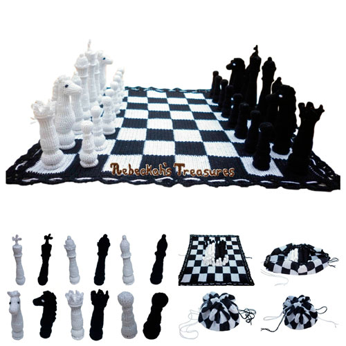 Chess Set Crochet Pattern PDF $15.00 by Rebeckah's Treasures! Grab your copy today here: http://goo.gl/vEcLO3 #crochet #pattern #chess #amigurumi #toys