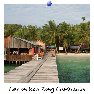 View of La Mami restaurant on a Pier on Koh Rong Island Sihanoukville Cambodia