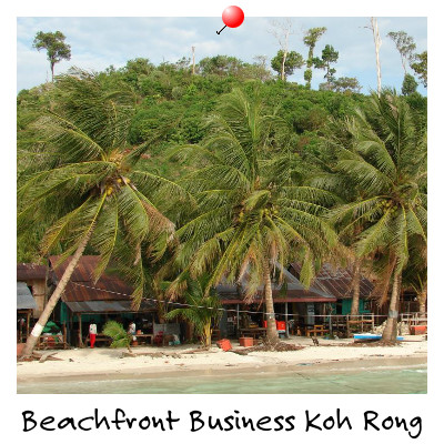View of Beachfront Businesses on Koh Rong Island Sihanoukville Cambodia