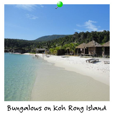 View of Beach Bungalows on Koh Rong Island Sihanoukville Cambodia