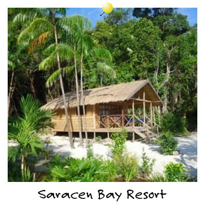 View of Saracen Bay Resort Beach Bungalow on Koh Rong Samloem Island Sihanoukville Cambodia