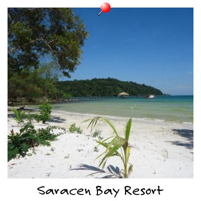 View of Saracen Bay Resort Beach on Koh Rong Samloem Island Sihanoukville Cambodia