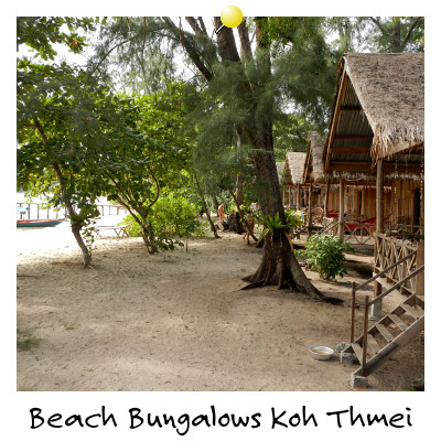 View of Beach Bungalows on Koh Thmei Island Sihanoukville Cambodia