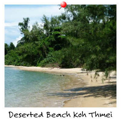 View of a Deserted Beach on Koh Thmei Island Sihanoukville Cambodia