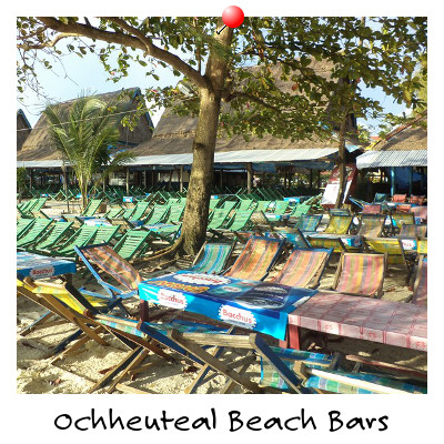 View of Ochheuteal Beach Bars Sihanoukville Cambodia