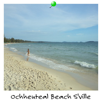 View from Beach on Ochheuteal Beach Sihanoukville Cambodia