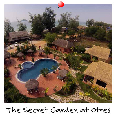 Aerial view of The Secret Garden On Otres Beach Hotel Sihanoukville Cambodia