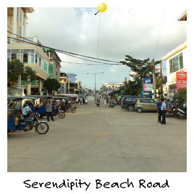 View looking up Serendipity Beach Road Sihanoukville Cambodia