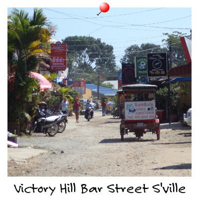 Looking down Victory Hill Bar Street Sihanoukville Cambodia