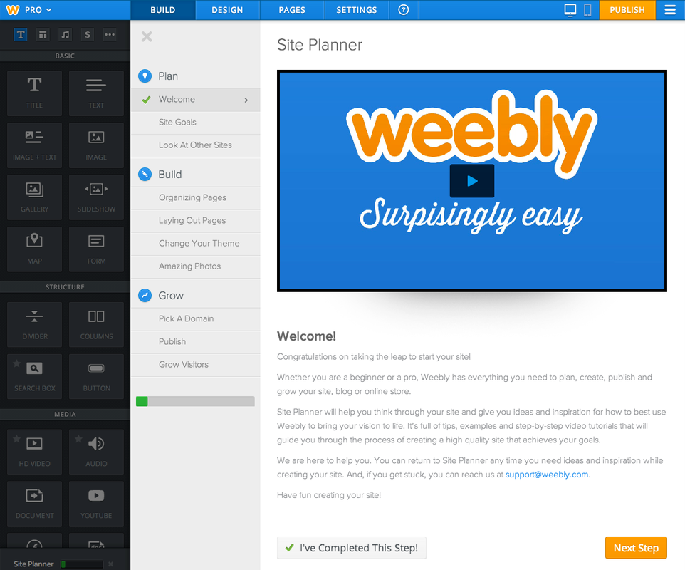 Weebly website builder dashboard
