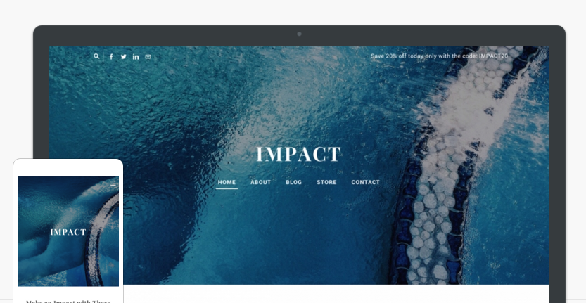 Impace website theme on desktop and phone