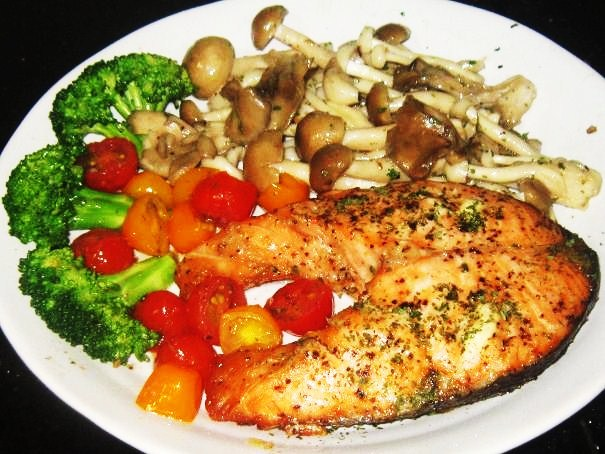 Baked Salmon With Fried Mushrooms Broccoli And Cherry Tomatoes Recipe