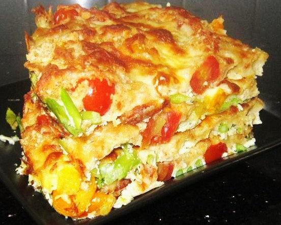 Broiled Asparagus and Tomatoes with Eggs and Mozzarella Cheese Recipe