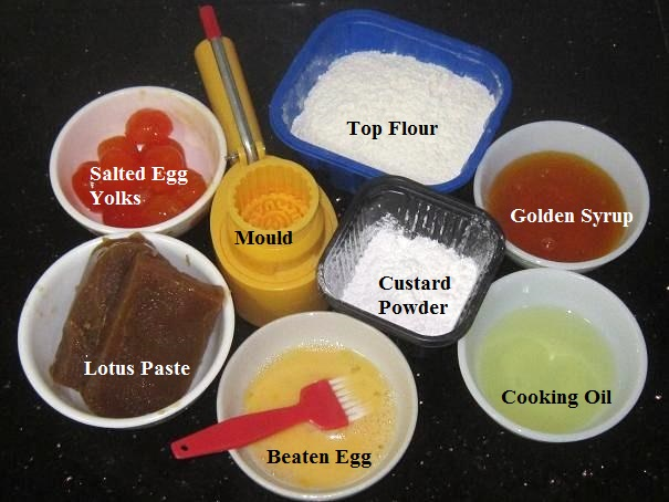 Ingredients for Mini Mooncakes with salted egg yolk recipe
