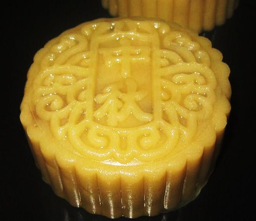 Moulded mooncake on baking tray