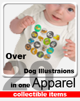 20 dog illustrations in one apparel-collectible item
