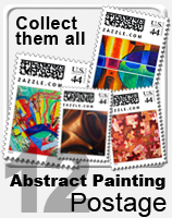 set of 12 abstract paintings on postage