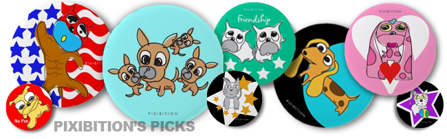 Pixibition's favorite products: cartoon dog cat tshirt shoe hats bags cards binder mugs stamp calendar