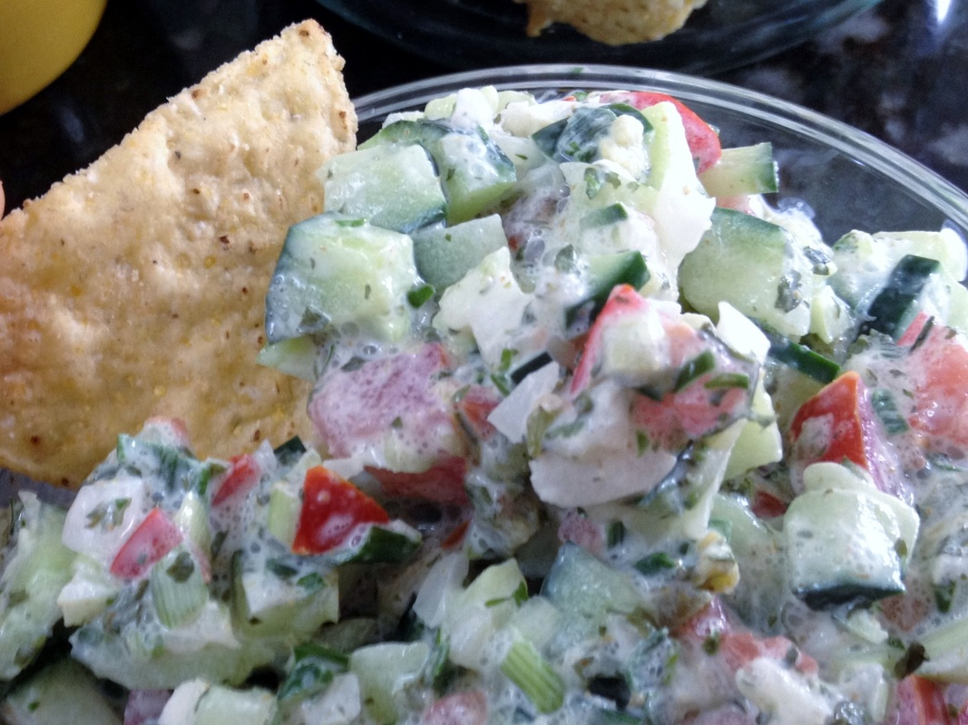 crisp cucumber salsa a beautiful, popular summer salsa and chip dip!