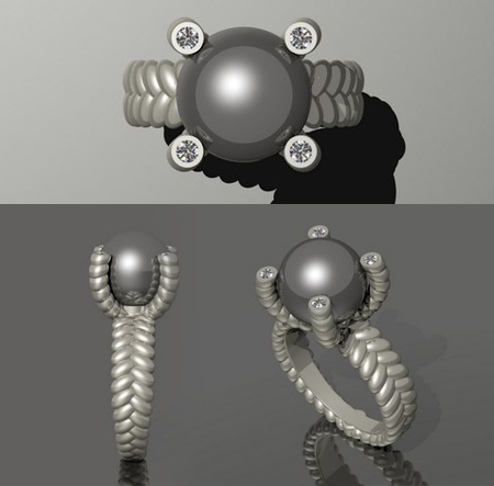 Custom black-pearl ring design by Massoud
