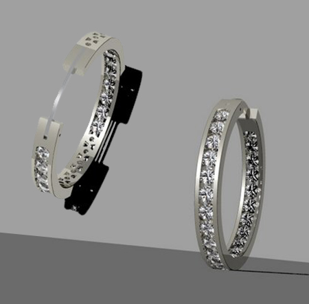 Custom Diamond earring hoop design by Massoud