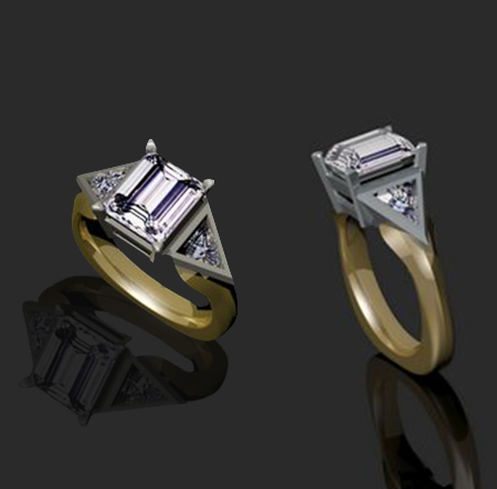 Custom gold ring design with lilac diamond