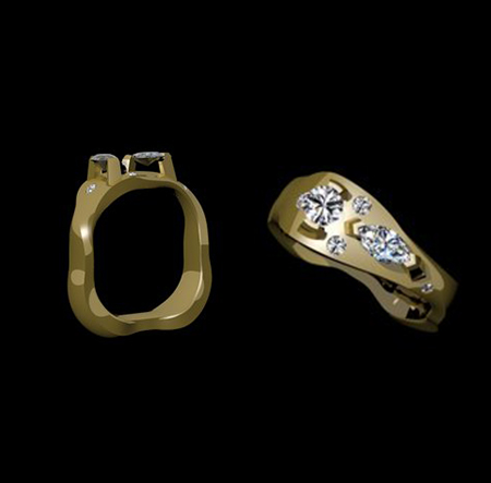 Custom abstract gold diamond ring design by Massoud