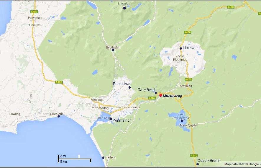 Maentwrog Map