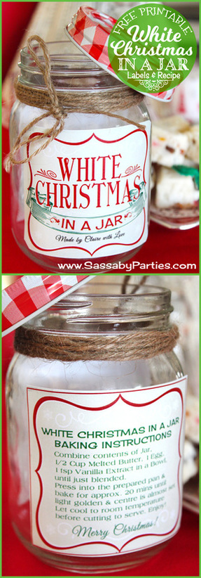 Homemade Gift: White Christmas in a Jar with a Free Printable label!