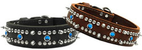 Jewel Leather Big Dog Collar