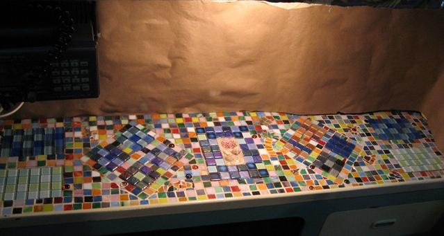 countertop mosaic waiting for grout