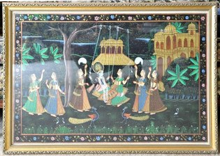 Indian silk painting depicting Radha and Krishna
