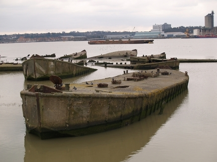 Rainham Marshes Floating concrete  barges on the Thames once formed part of Mulberry Harbours as part of D Day invasion in 1944