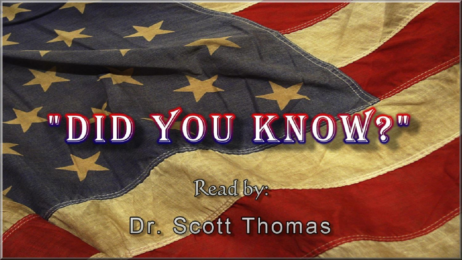 Dr. Scott A. Thomas message