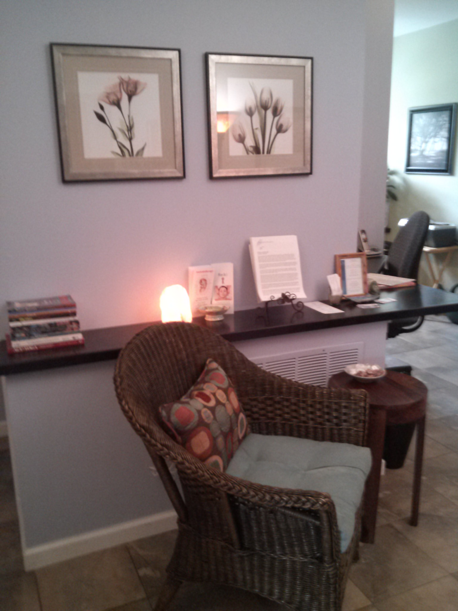 Massage studio client waiting and relaxation area in Simsbury, CT