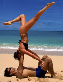 acroyoga on the beach'