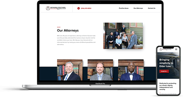 Jacksonville Website Design for Senior Counsel Law