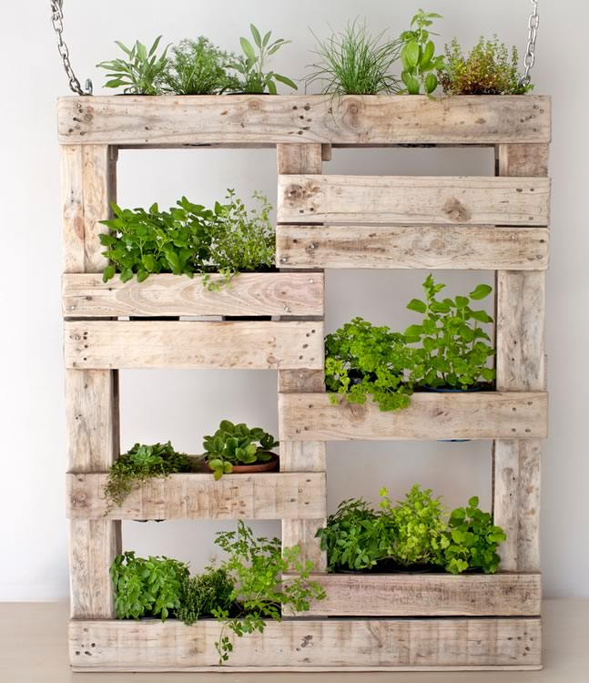 Reclaim Design's hanging vertical garden with chains made from reclaimed wood containing herbs.