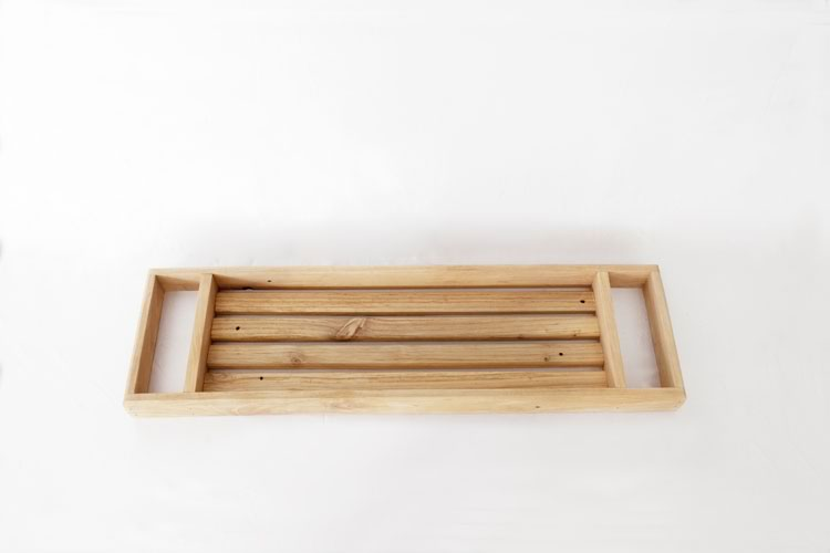 Reclaim Design's natural reclaimed wood bath caddy