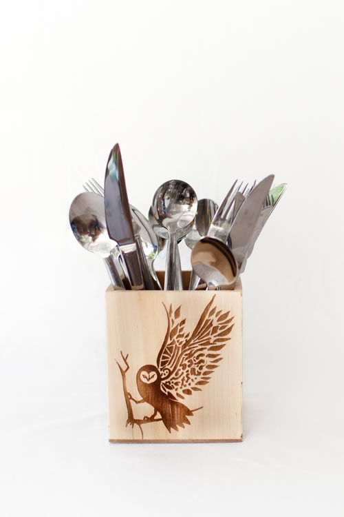 Reclaim Design's small lazer etched box made from reclaimed wood with owl design containing cutlery.
