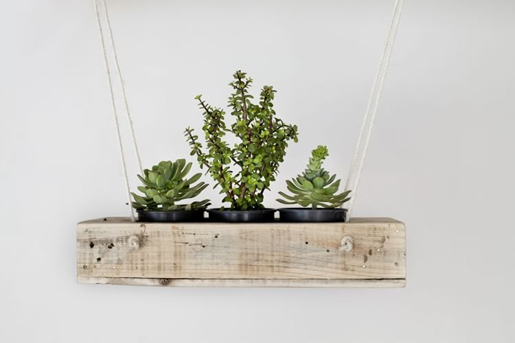 Reclaim Design's 3 pot hanging planter made from reclaimed wood with jute rope containing succulents.