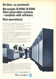 Burroughs B2500 B3000 Computer Ad from 1967