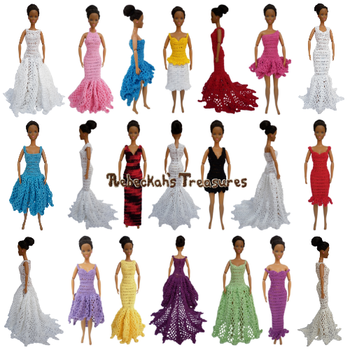 Happily Ever After Fashion Doll Crochet Pattern PDF $10.00 by Rebeckah's Treasures - You can be a designer too when you mix and match necklines & silhouettes! Grab your copy today here: http://goo.gl/5bXO46 #crochet #pattern #barbie #toys