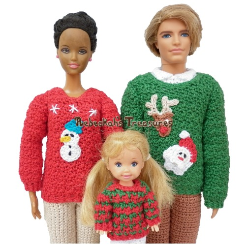 Fashion Doll Family Christmas Sweaters Crochet Pattern by Rebeckah's Treasures - Available Exclusively in Too Yarn Cute's e-Magazine! Grab your copy today here: https://goo.gl/MvbGvF #crochet #pattern #barbie #toys #kelly #christmas #ken