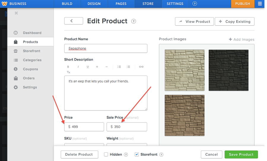 Edit product page in Weebly store dashboard