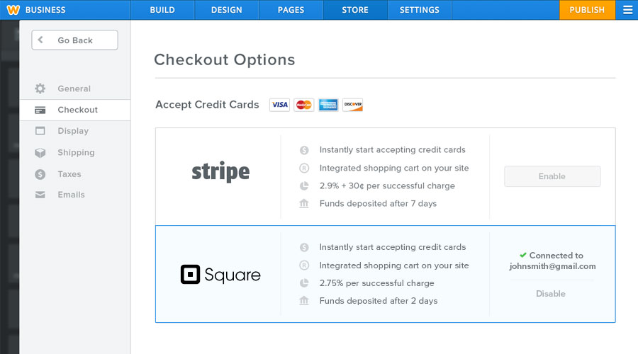 eCommerce Checkout Options Interface