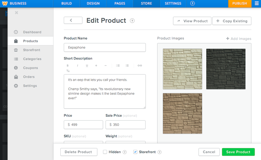 Edit Product Screen in Weebly Store