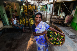Portrait of a flower seller in Madurai, India