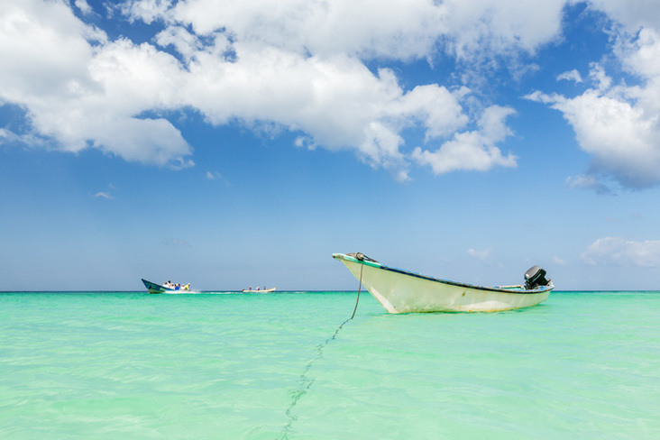 Boat in clear sea in Socotra, Yemen