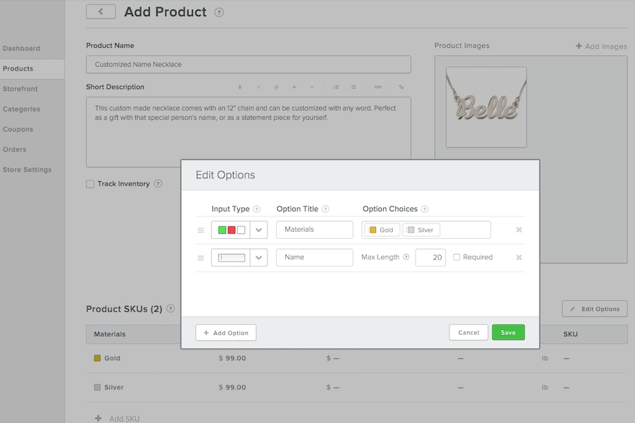 Custom text option in add product dashboard